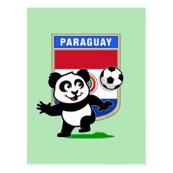 Postcard with Paraguay Football Panda design