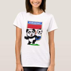Women's Basic T-Shirt with Paraguay Football Panda design