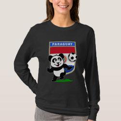 Women's Basic Long Sleeve T-Shirt with Paraguay Football Panda design