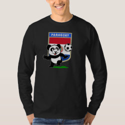 Men's Basic Long Sleeve T-Shirt with Paraguay Football Panda design