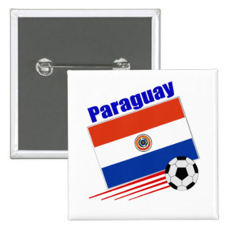 Paraguay Soccer Team 2 Inch Square Button