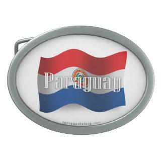 Paraguay Waving Flag Belt Buckles