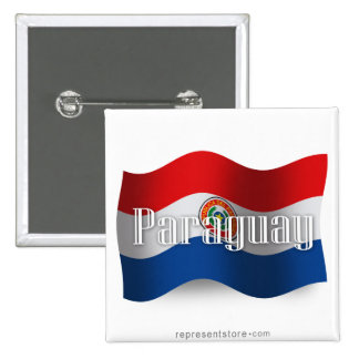 Paraguay Waving Flag 2 Inch Square Button