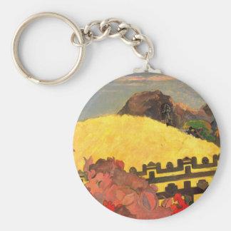'Parahi Te Marae' - Paul Gauguin Basic Round Button Keychain