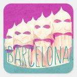 Paraíso de Barcelona Gaudi Pegatina Cuadrada