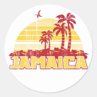Paraíso de Jamaica Pegatina Redonda