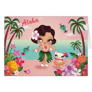 Paraíso de la isla de Hula Lulu - tarjeta de felic