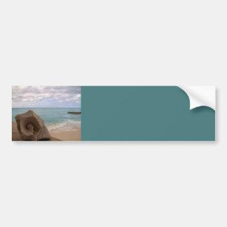 Paraíso de la isla de la playa del Seashell Pegatina De Parachoque