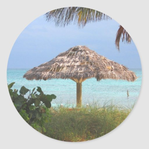 Paraíso de la playa de Bahama Pegatina Redonda
