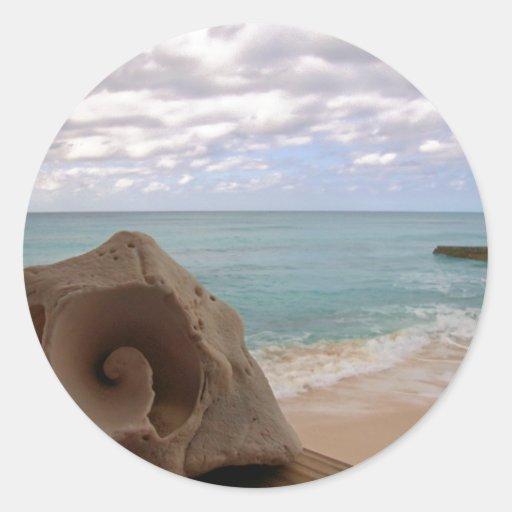 Paraíso de la playa del Seashell Etiquetas Redondas