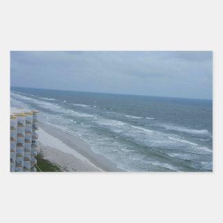paraíso de la playa pegatina rectangular