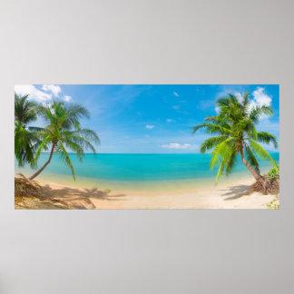 Paraíso de PixDezines/isla tropical de la visión p Póster