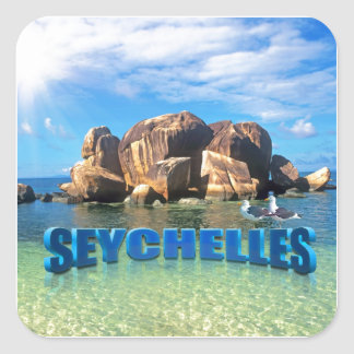 Paraíso de Seychelles Pegatina Cuadrada
