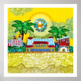 Paraíso del amarillo de la playa del poster el | B