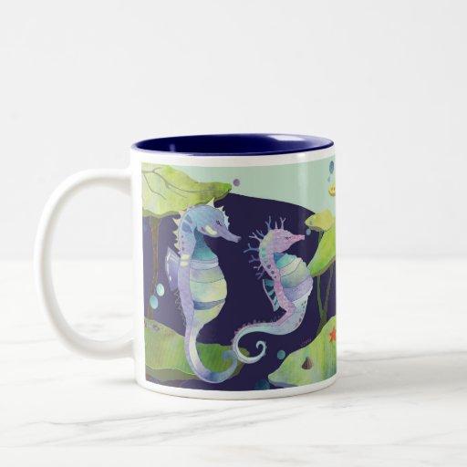 Paraíso del caballo de mar taza de café de dos colores