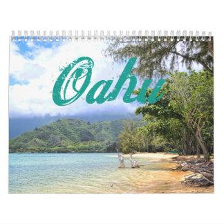 Paraíso del Hawaiian de Oahu Calendario De Pared