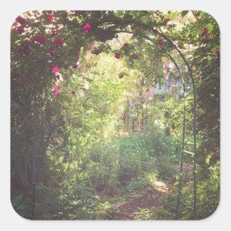 Paraíso del jardín pegatina cuadrada