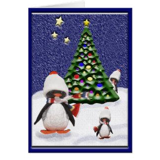 Paraíso del navidad del pingüino tarjeta de felicitación