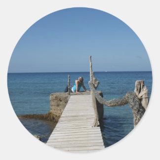 Paraíso del paseo marítimo pegatinas redondas