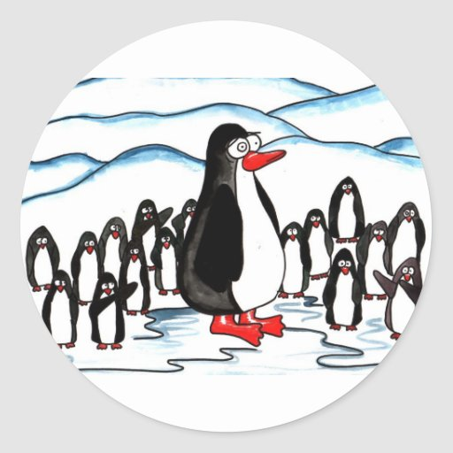 Paraíso del pingüino etiquetas redondas