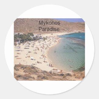 Paraíso estupendo de Grecia Mykonos (St.K) Pegatina Redonda