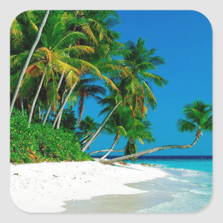 Paraíso perdido de la playa pegatina cuadrada