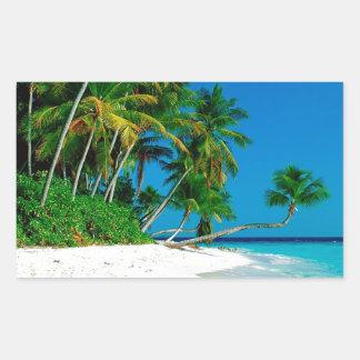 Paraíso perdido de la playa pegatina rectangular