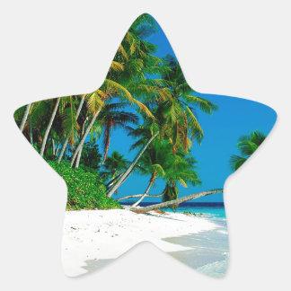 Paraíso perdido de la playa pegatina en forma de estrella