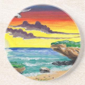 Paraíso pintado a mano de la playa hermosa posavasos manualidades