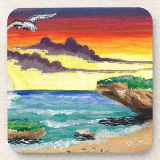 Paraíso pintado a mano de la playa hermosa posavaso