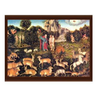 Paraíso por Cranach D. Ä. Lucas (la mejor calidad) Tarjeta Postal