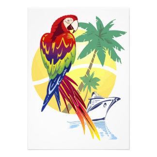 Paraíso tropical con el Macaw y el barco de crucer Anuncio