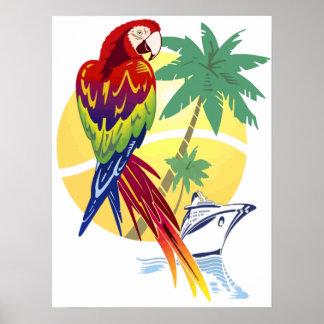 Paraíso tropical con el Macaw y el barco de crucer Posters