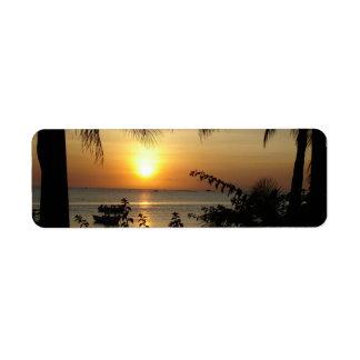Paraíso tropical de la playa etiquetas de remite