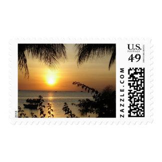 Paraíso tropical de la playa sello