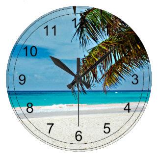 Paraíso tropical reloj redondo grande