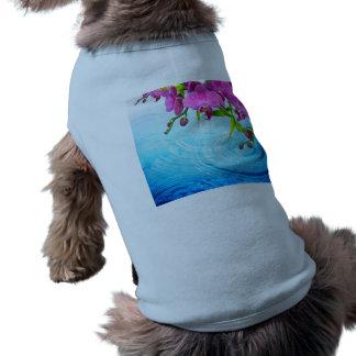 paraíso tropical, zen, paz, orquídea, agua azul, playera sin mangas para perro