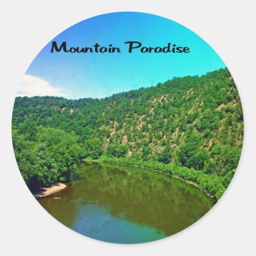 Paraíso Virginia Occidental de la montaña Pegatina Redonda
