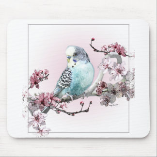 Parakeet and Cherry Blossoms Mouse Pad