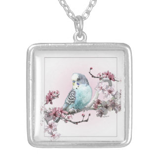 Parakeet and Cherry Blossoms - Necklace