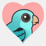 Parakeet barrado turquesa pegatina corazón personalizadas