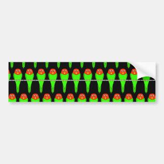 Parakeet Bird Pattern on Black Bumper Stickers