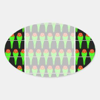 Parakeet Bird Pattern on Black. Oval Sticker