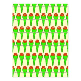 Parakeet Birds Pattern. Postcard