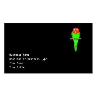 Parakeet Cartoon. Bird on a perch. Business Card
