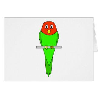 Parakeet Cartoon. Bird on a perch. Card
