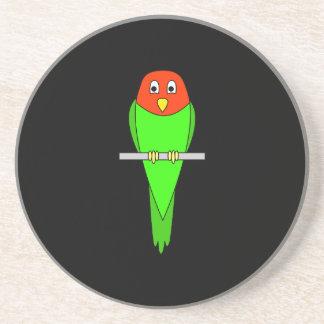 Parakeet Cartoon. Bird on a perch. Beverage Coasters