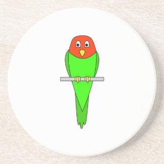Parakeet Cartoon. Bird on a perch. Coasters