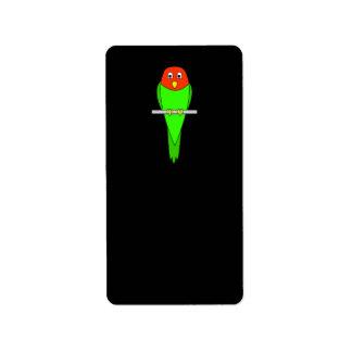 Parakeet Cartoon. Bird on a perch. Label
