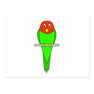 Parakeet Cartoon. Bird on a perch. Large Business Card